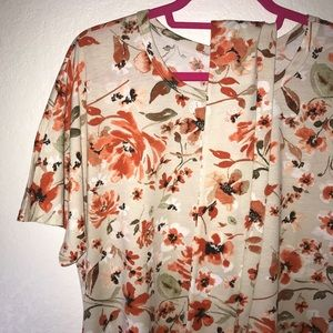 Floral Marly Dress LuLaRoe 2X BNWT Tan & Orange